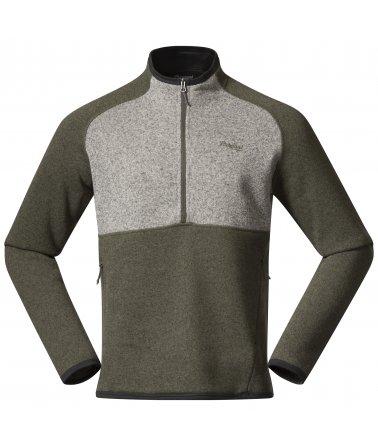 Pánská fleece mikina Bergans Kamphaug Knitted Half Zip