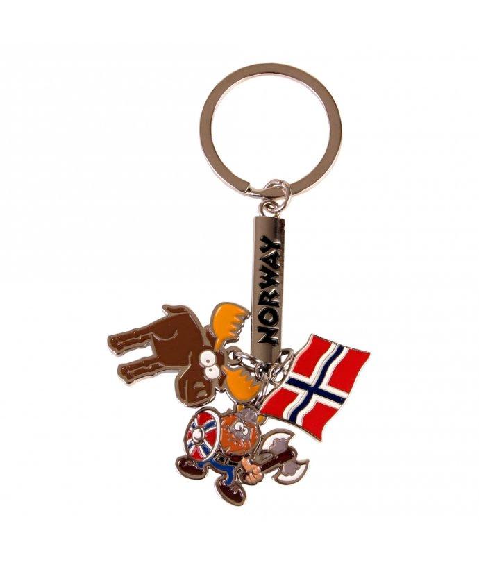PŘÍVĚSEK NA KLÍČE S NORSKOU VLAJKOU, SE SOBEM A NORSKYM VIKINGEM