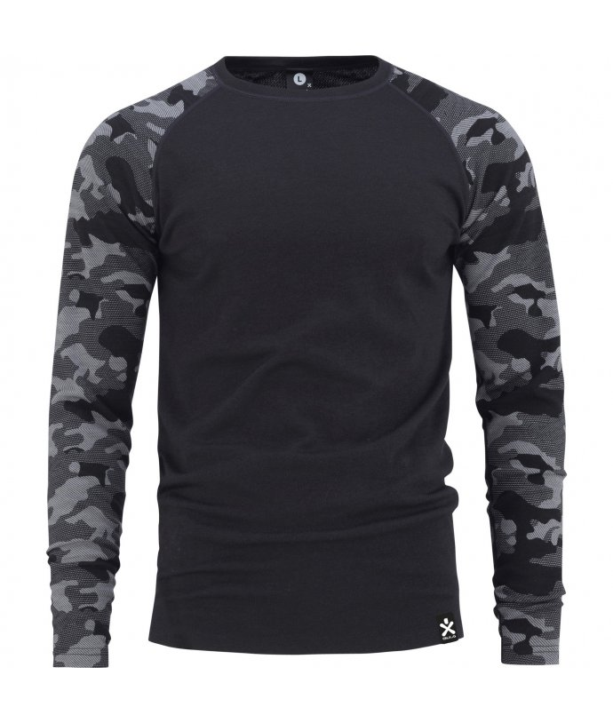 Pánské tričko s dlouhým rukávem CAMO MERINO WOOL CREW  Bula