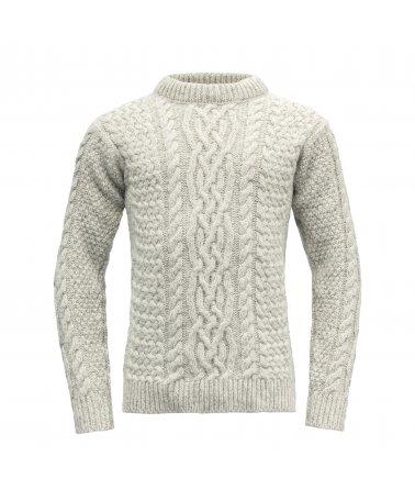 Teplý vlněný svetr s klasickým pleteným vzorem Devold Sandoy