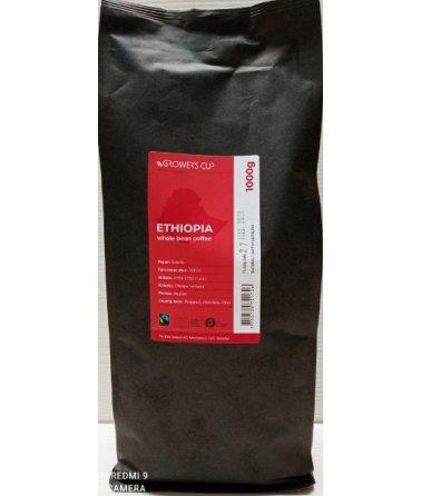 Jednodruhová zrnková káva Grower´s cup Etiopie, 1000 g. Fairtrade & Organic
